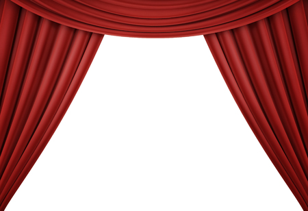 Red curtain of a classical theater isolated on white background. 3d render Stockfoto