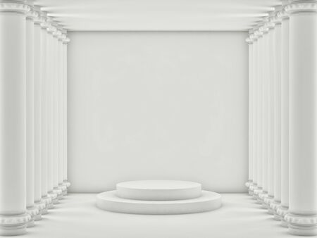 Empty light room with white brick walls and white columns. 3d render