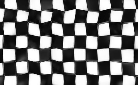 Black and white abstract image of cubes background. 3d render