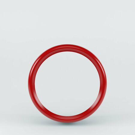 3d round red frame. Isolated on white background
