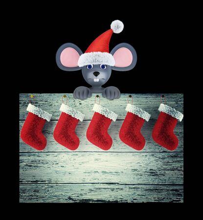 Year of the Rat. Happy New Year 2020. Banner, flyer, postcard. Mouse and christmas sockes isolated on black. 3d render