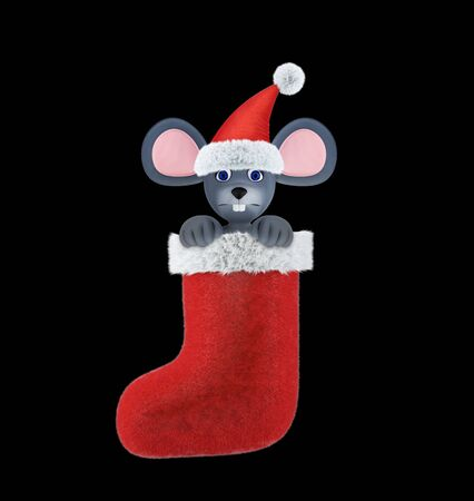Year of the Rat. Happy New Year 2020. Banner, flyer, postcard. Mouse in a christmas sock isolated on black. 3d render Banco de Imagens