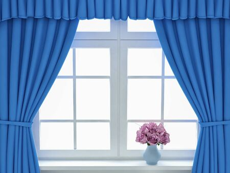 Window with blue curtains and roses. 3d render Reklamní fotografie