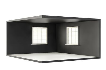Empty room with two windows and white floor. 3d render
