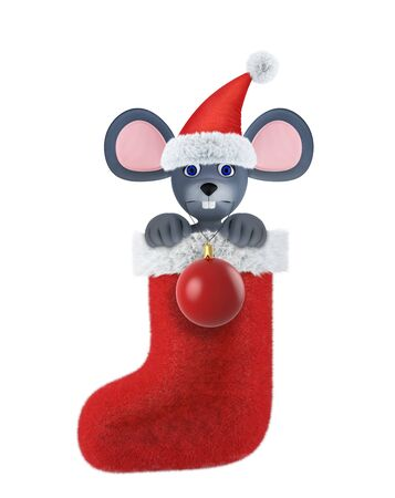 Year of the Rat. Happy New Year 2020. Banner, flyer, postcard. Mouse in a christmas sock with a ball isolated on white. 3d render 免版税图像