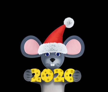 Happy new year 2020 greeting card with cute mouse and cheese isolated on black. Animal wildlife holidays cartoon character. 3d render. 免版税图像
