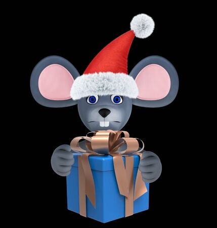 Year of the Rat. Happy New Year 2020. Banner, flyer, postcard. Mouse with present box isolated on black. 3d render 免版税图像
