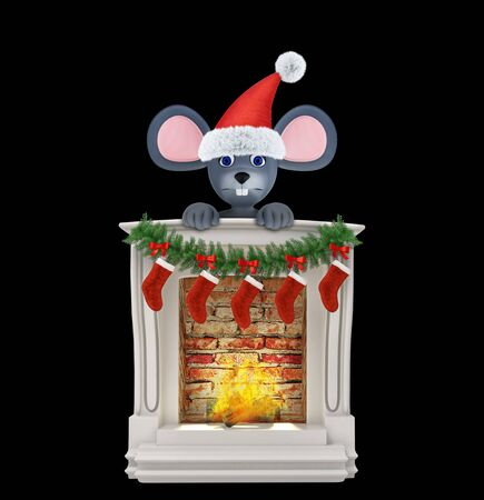 Year of the Rat. Happy New Year 2020. Banner, flyer, postcard. Mouse near the fireplace isolated on black. 3d render 免版税图像