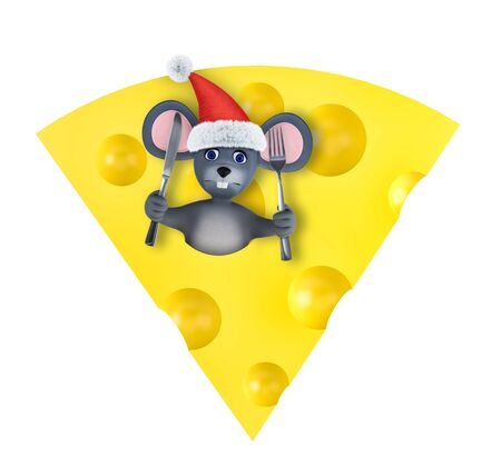 Happy new year 2020 greeting card with cute mouse and cheese isolated on white. Animal wildlife holidays cartoon character. 3d render. 免版税图像
