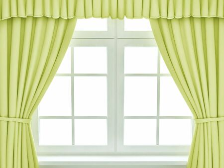Window with the yellow curtains. 3d render Reklamní fotografie