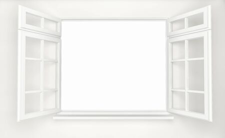 An opened plastic white window. 3d render