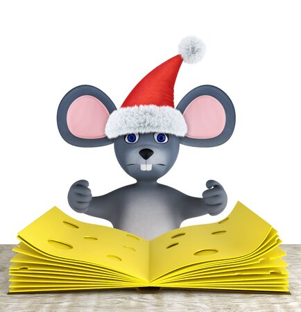 Cute mouse and slices of cheese folded like a book on a white wooden tablei solated on white. 3d render