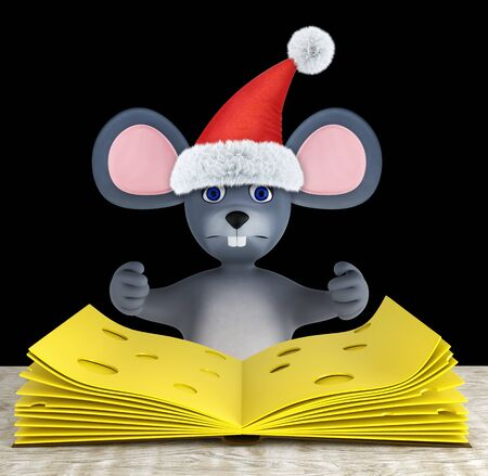 Cute mouse and slices of cheese folded like a book on a white wooden table isolated on black. 3d render