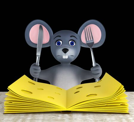 Cute mouse and slices of cheese folded like a book on a white wooden table isolated on black. 3d rendering Reklamní fotografie