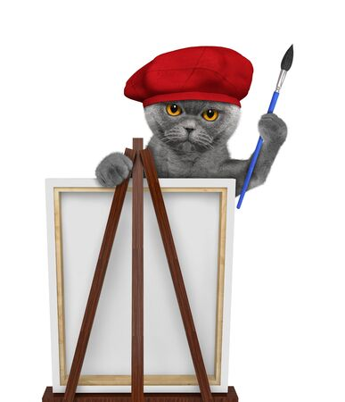 Cute cat is a painter artist. Isolated on white 免版税图像