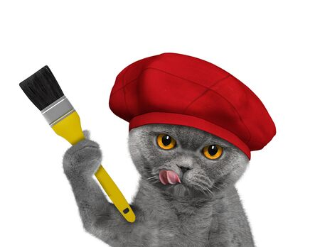 Cute cat as a painter with a brush. Isolated on white 免版税图像