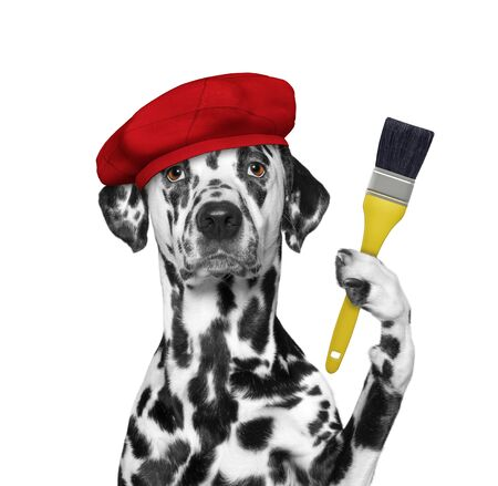 Dalmatian dog as a painter with a brush. Isolated on white Foto de archivo