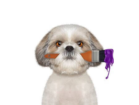 Cute dog as a painter with brush and purple color. Isolated on white