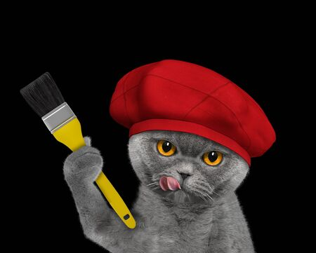 Cute cat as a painter with a brush. Isolated on black
