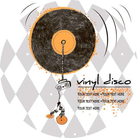 Vinyl disco emblem on background in the rhombus