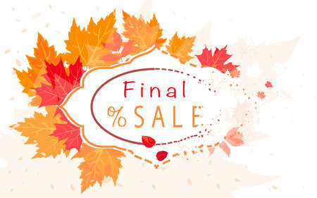 Autumn sales banner with red maple leaves