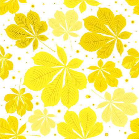 Seamless autumn leaves colorfull pattern on white background