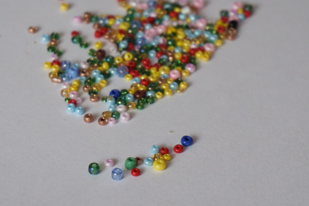 multi-colored beads scattered