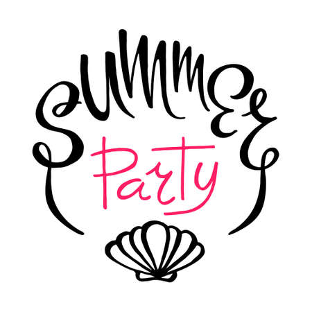Summer party lettering on white background. Hand drawing letters with shell icon. Isolated vector illustration. Party flyer poster. Vectores