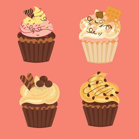 맛있는 컵 케이크와 머핀