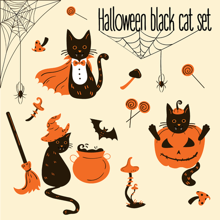 Set of black cats in Halloween costumes. Halloween decor and objects. Vector illustration. Vettoriali