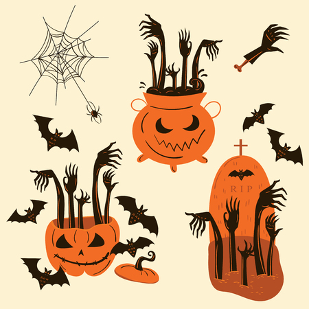 Set of zombie hands in Halloween pumpkin, witch pot and . headstone. Halloween decor and objects. Vector illustration.