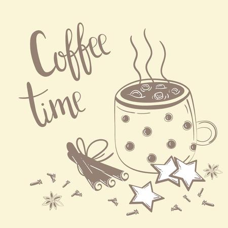 Kritzeleien Kaffee Set. Vektorabbildung zum Frühstück. Kaffeezeit Text. Kaffee, Zimt und Nelke