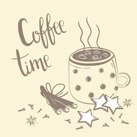 Doodles koffie set. Vectorillustratie voor ontbijt. Koffie tijd tekst. Koffie, kaneel en anjer