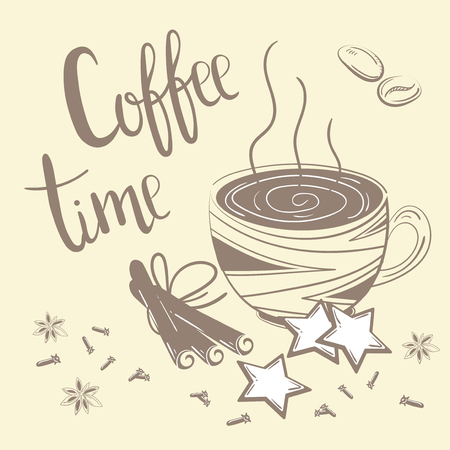 Doodles set da caffè. Illustrazione vettoriale per la colazione Testo del tempo del caffè Sali caffè, cannella e garofano su sfondo cremoso