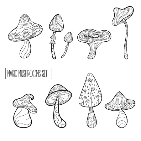 Set of stylized magic mushrooms. Fairy mushrooms. Black and white vector