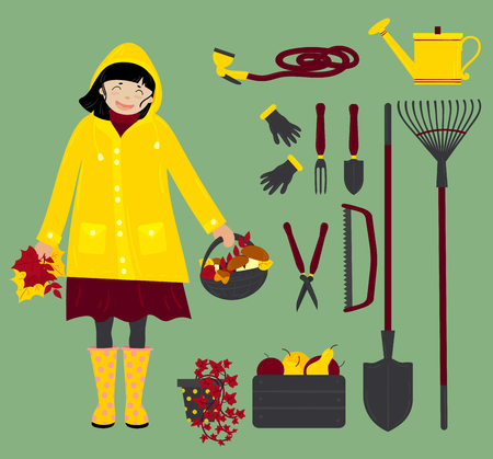 Autumn girl in yellow raincoat with gardening instruments and equipment. Gardening fork, shovel, gloves, saw and others. isolated vector illustration