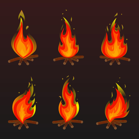 Set of red bonfire icons. Flat vector illustration. Collection of red with orange flames and bonfires isolated on bworn