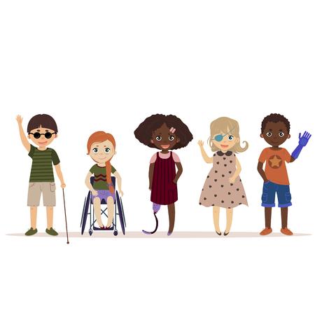 Des enfants heureux avec des handicaps Banque d'images - 89127119