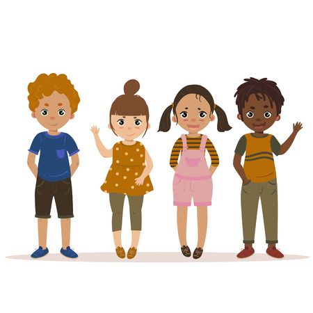 Boys and Girls Kid Set Cartoon