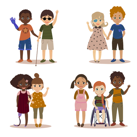 Behinderte Kinder mit Freunden. Vektorgrafik