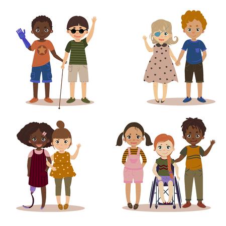 Niepełnosprawne dzieci z przyjaciółmi. Ilustracje wektorowe