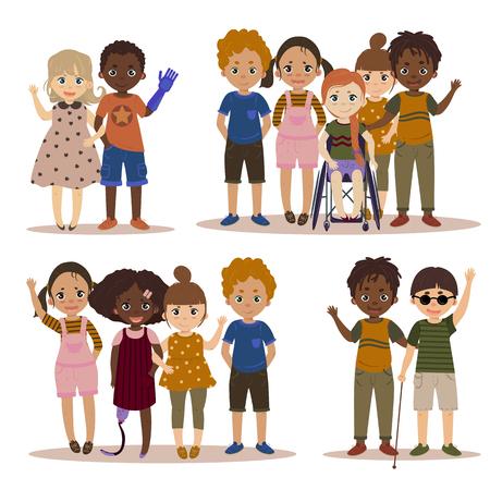 Niños discapacitados con amigos.