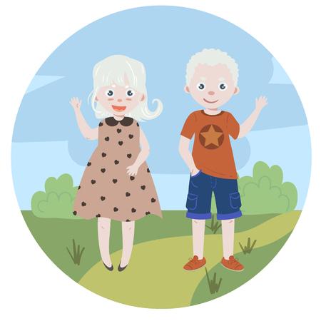 Albino kids. Albinism. Boy and girl