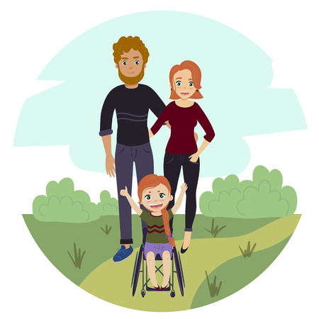 Happy family with disabled wheelchair girl Stock Photo
