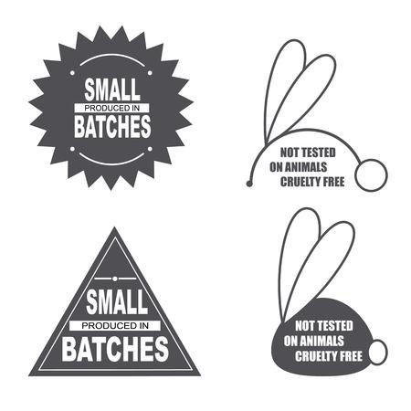 동물 사인을 테스트하지 않았습니다. 동물 학대 무료 아이콘. 동물 기호로 테스트되지 않은 제품. 스티커, 로고, 스탬프, 아이콘입니다. 벡터 일러스트  일러스트