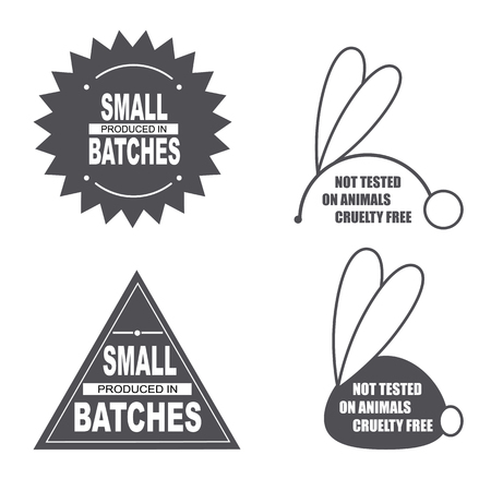 Not tested on animals sign. Animal cruelty free icon. Product not tested on animals symbol. Sticker, logo, stamp, icon. Vector illustration. Produced in small bacthes icon Illustration