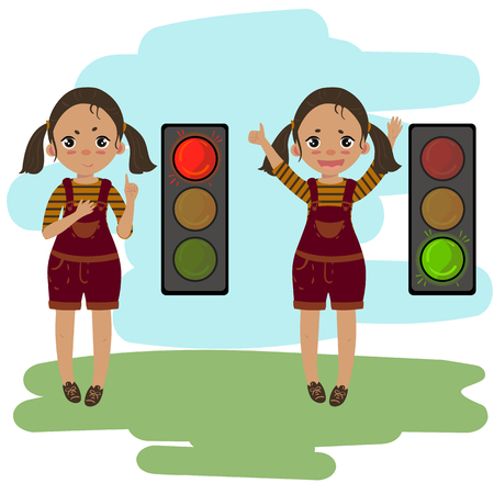 Pedestrian traffic light. Girl shows and explains the rules of road safety. Red and green light. Attention on the road Illustration