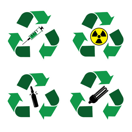 vector nuclear: Different recycle waste bins icons. Waste types segregation recycling. Medical, syringe, glass, nuclear, fuel rods, lamps Vector illustration