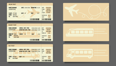 Bus, Plane, and Train ticket concept design Vector illustration. Ilustração