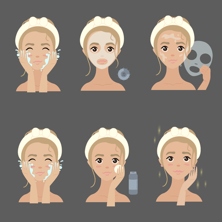 Steps how to apply facial mask for face moisturizing and acne treating Vector illustrations set.  イラスト・ベクター素材